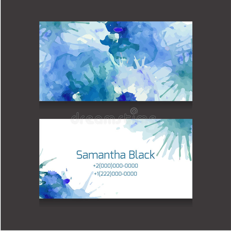 Double sided business card template with a watercolor background royalty free illustration