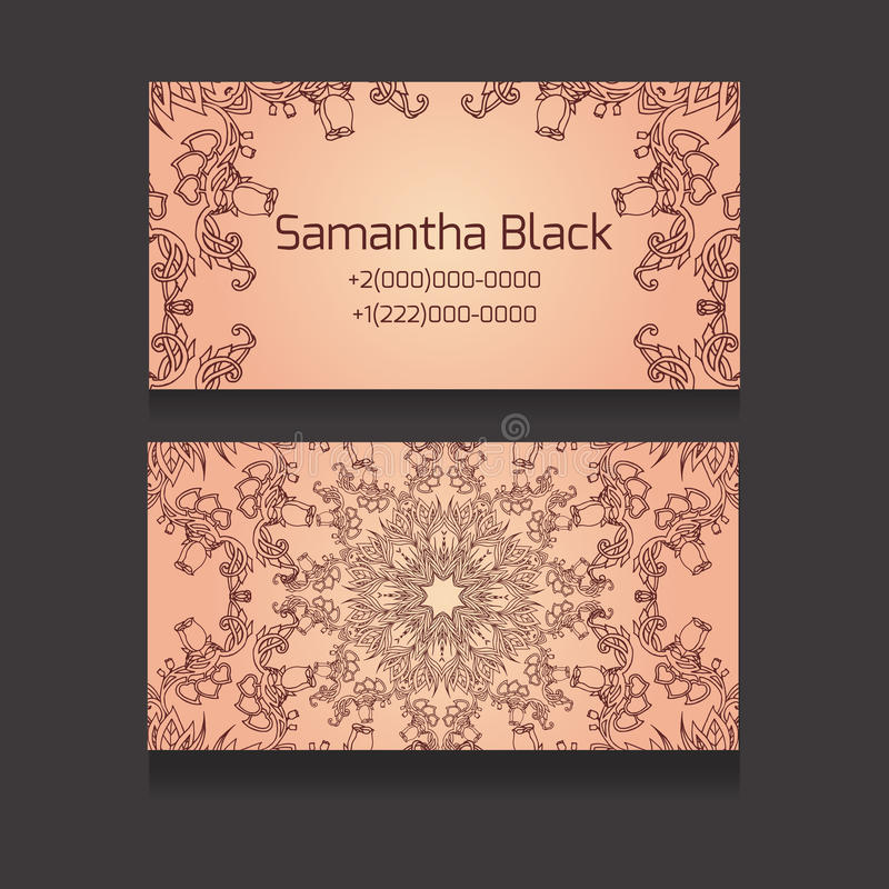 Double-sided business card with a tribal floral pattern vector illustration