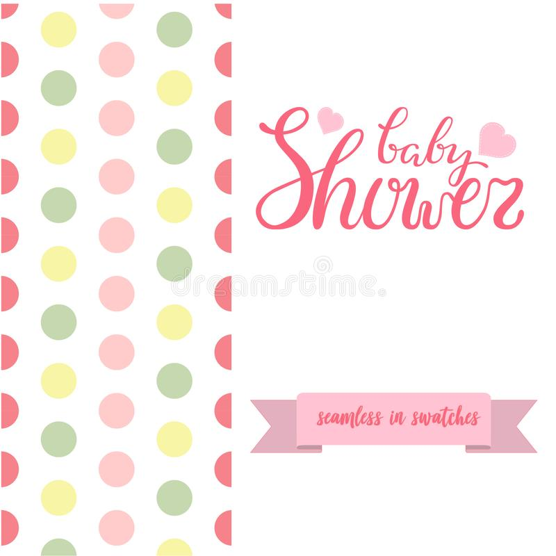 Double sided cute greeting card for newborn baby girl shower party with fabric and pennant seamless pattern vector illustration