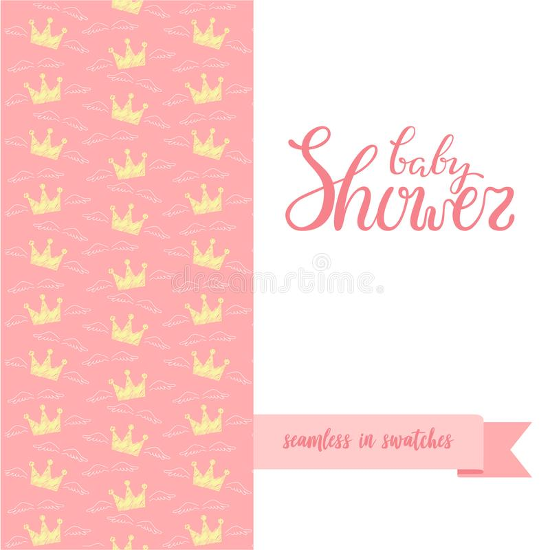Double sided cute greeting card for newborn baby girl shower party download double sided cute greeting card for newborn baby girl shower party stock vector illustration m4hsunfo