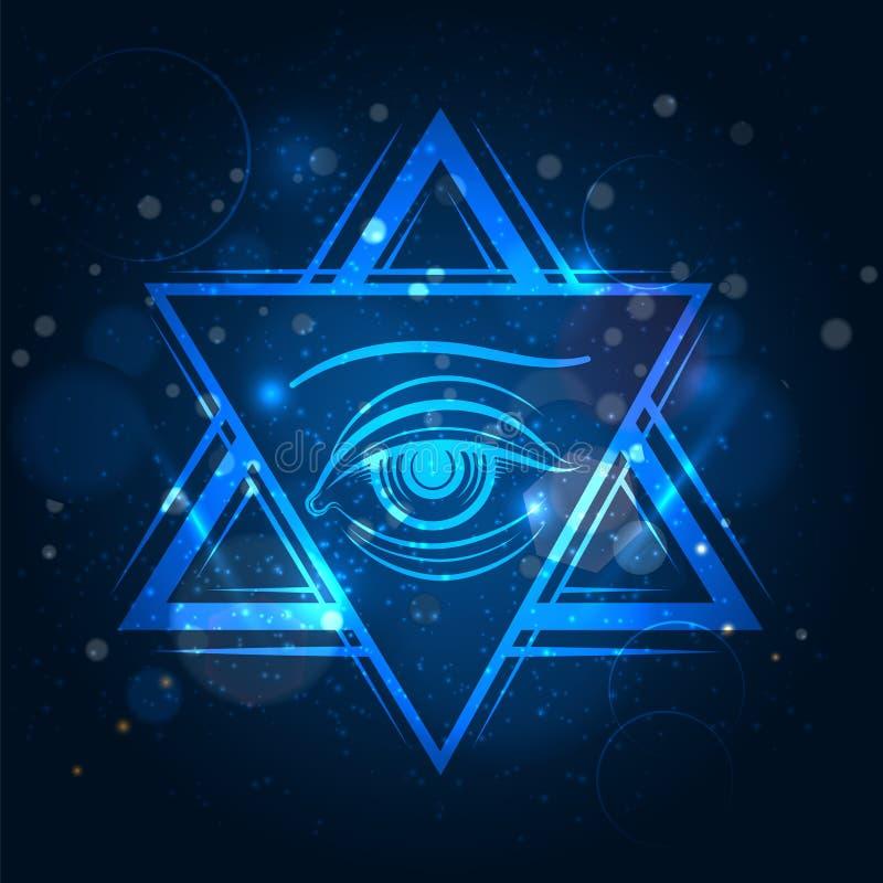 Double signe de triangle et d'oeil illustration libre de droits