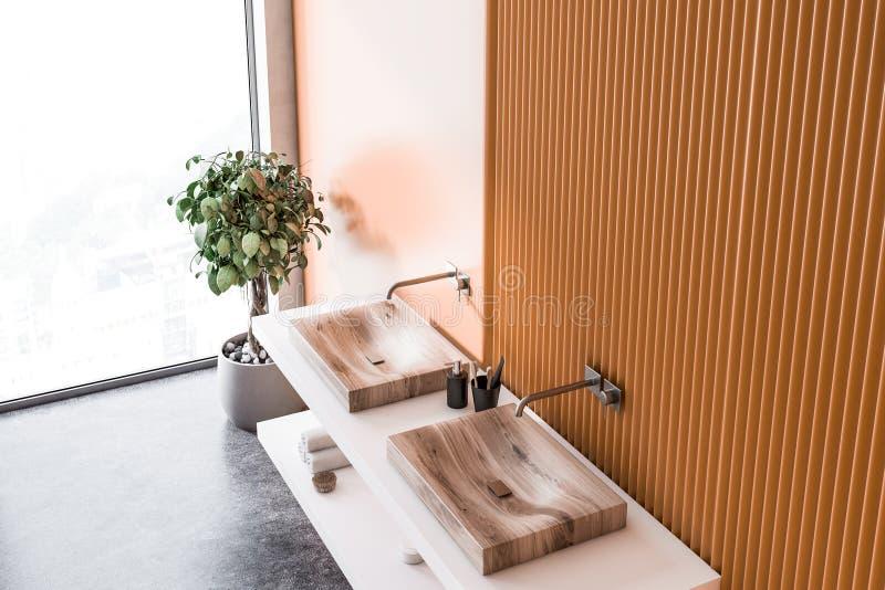 Double sink top view, orange bathroom, mirrors stock illustration