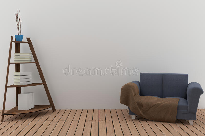 Double sofa fabric with bookshelf in the room interior in 3D rendering stock illustration