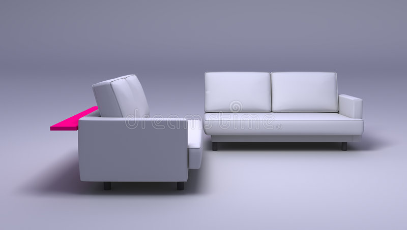 Double sofas. Sofas on simple background - double seated. Clipping path included in JPG format royalty free stock photo