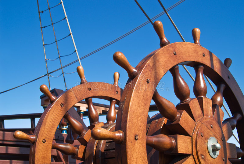 Double steering wheel of big sailing boat stock image