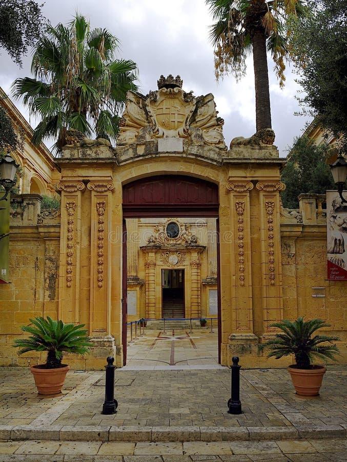 Decorative stonework forming the entrance royalty free stock photos