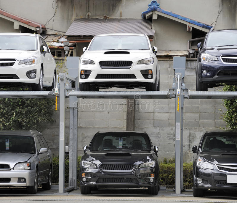 Double story parking in Japan royalty free stock photography