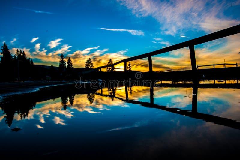 Double sunset stock photo