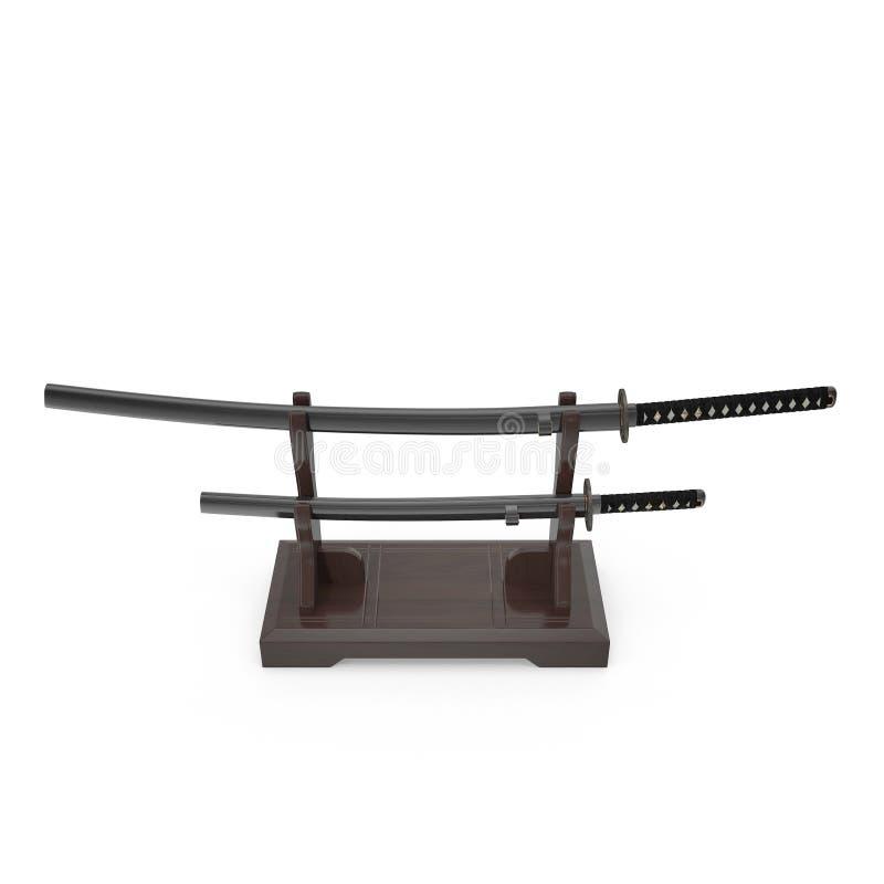 Double support d'épée pour des samouraïs Katana And Wakizashi 3D Illusration, rendent sur le fond blanc illustration stock