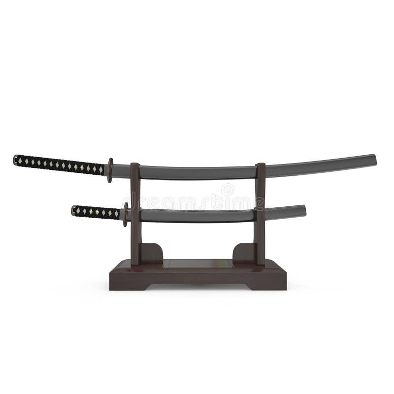 Double support d'épée pour des samouraïs Katana And Wakizashi 3D Illusration, vue de face rendent sur le fond blanc illustration libre de droits