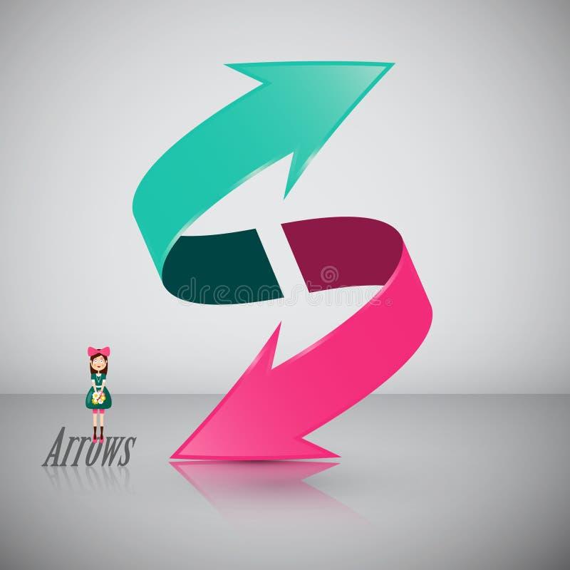 Double symbole de la flèche 3D avec la fille illustration stock