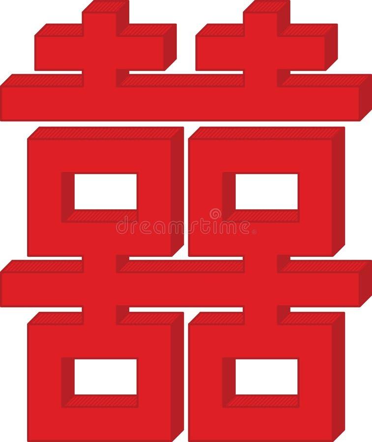 Double symbole moderne de Chinois de bonheur illustration de vecteur