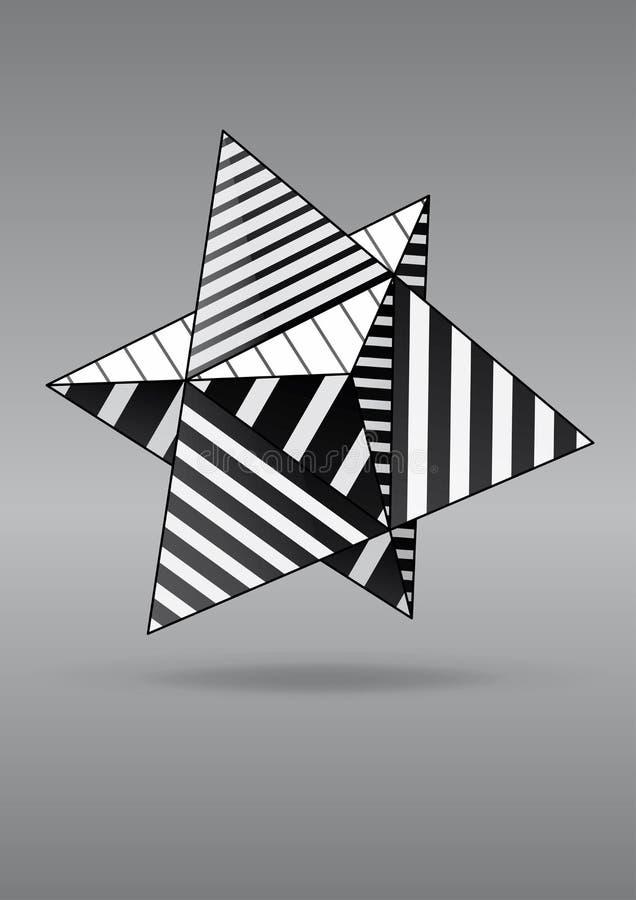 Double tétraèdre avec les visages rayés noirs et blancs pour la conception d'affiche illustration stock
