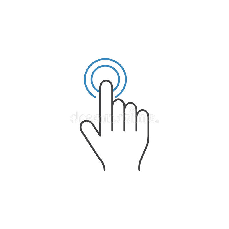 Double tap line icon, touch and hand gestures vector illustration