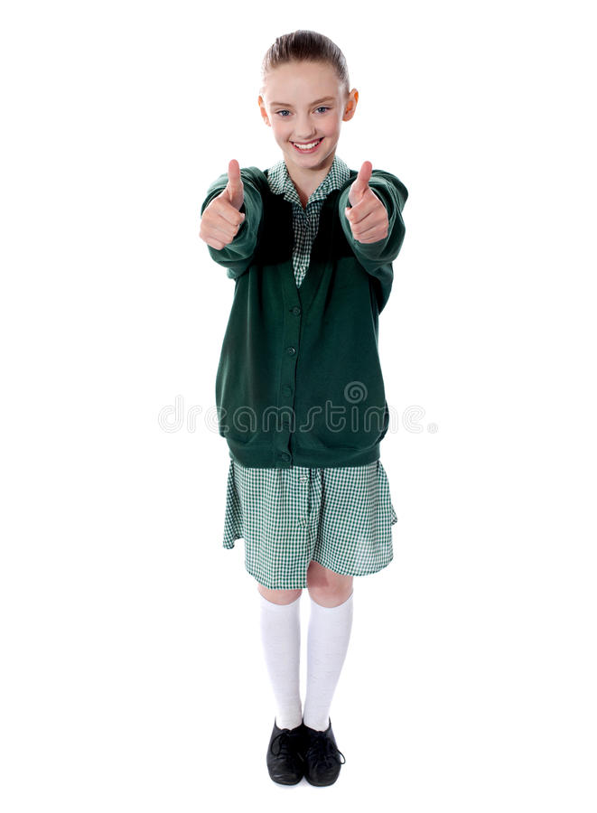 Download Double Thumbs Up By Young American Girl Stock Image - Image: 25621783