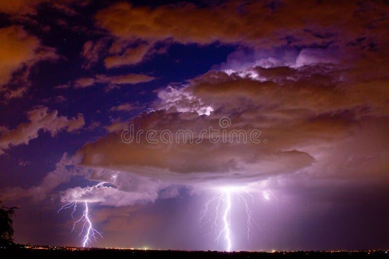 Double Trouble Lightning Strikes stock photo