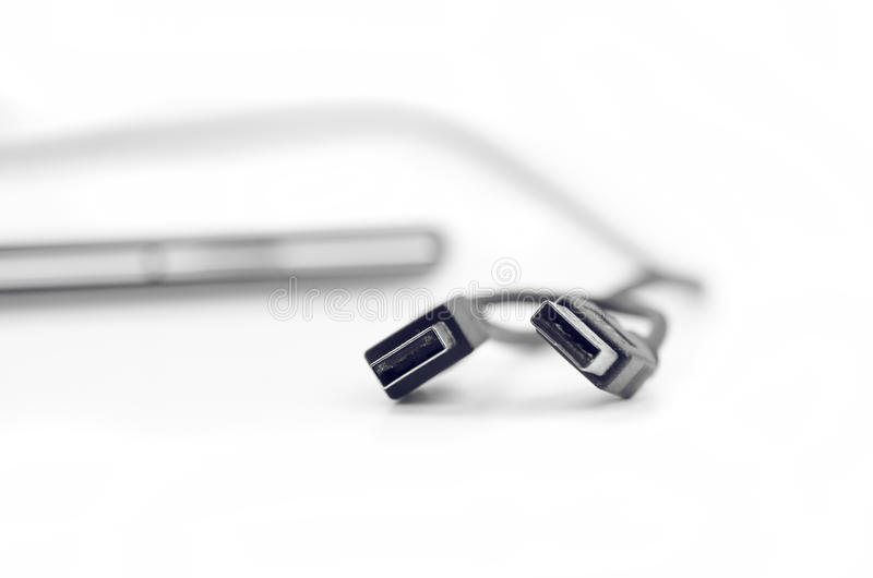 Double Usb Cable Close Up stock photo