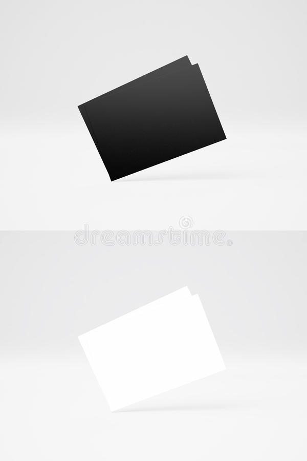 Double vertical photo of two stack black and White business Cards on abstract background. Empty cards row texture. Isolated white vector illustration