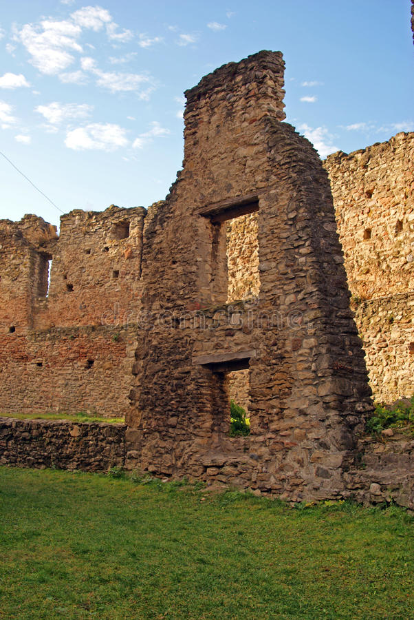 Double wall of ancient fortress stock photo