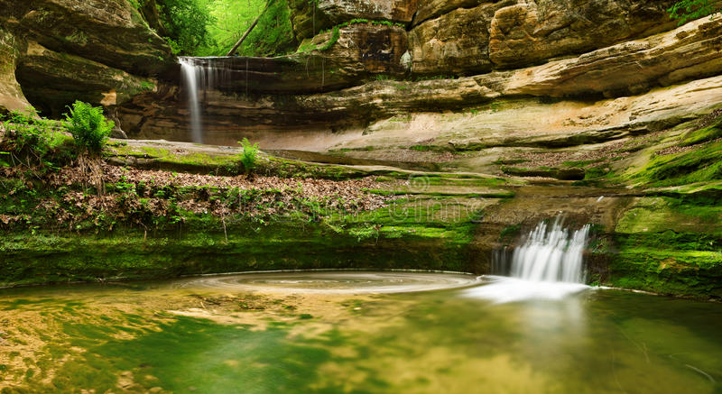 Double waterfall royalty free stock image