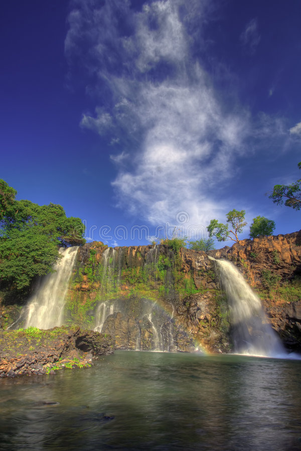 Double Waterfall with rainbow royalty free stock photography