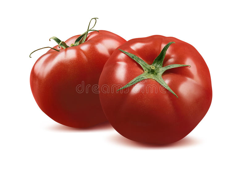 Double whole tomatoes on white background royalty free stock images