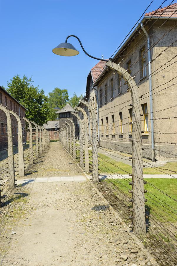 Double Wired Fences of Concentration Camp stock photography