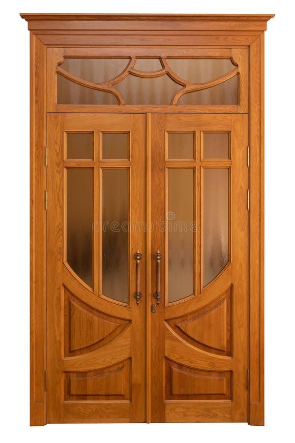 Double wooden doors isolated on white stock photo