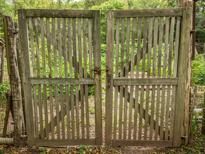 Download Double Wooden Garden Gate Stock Image. Image Of Outdoors   88532061