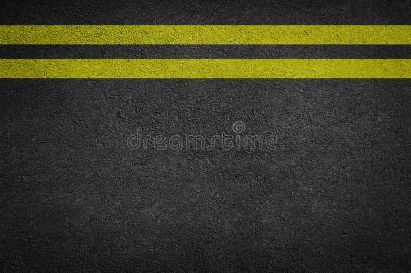 Double Yellow Line On New Asphalt Road. Texture background stock photo