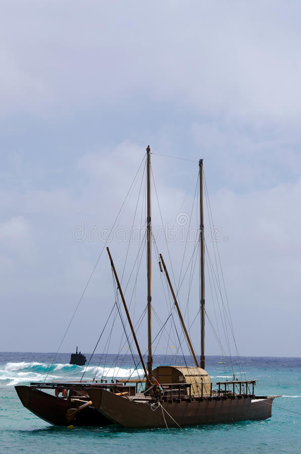 Doubled schälte vaka in Rarotonga - kochen Sie Islands lizenzfreies stockbild