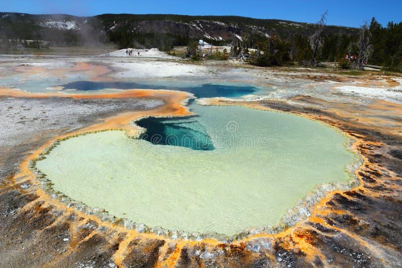 Yellowstone National Park, Wyoming, USA, Beautiful Doublet Pool Hot Spring, Upper Geyser Basin stock photos
