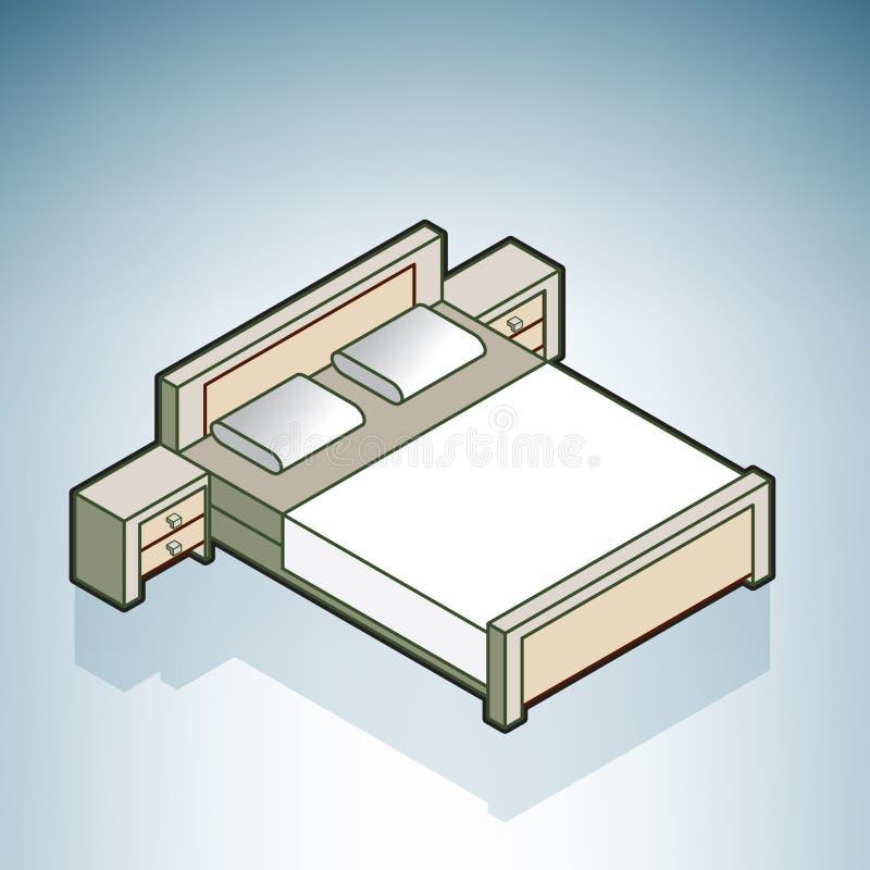 Doublez le bâti de taille avec Nightstands illustration de vecteur