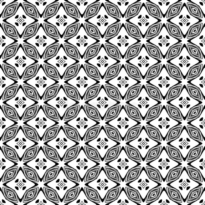 Doublure géométrique de modèle sans couture noir et blanc Fond, places illustration stock