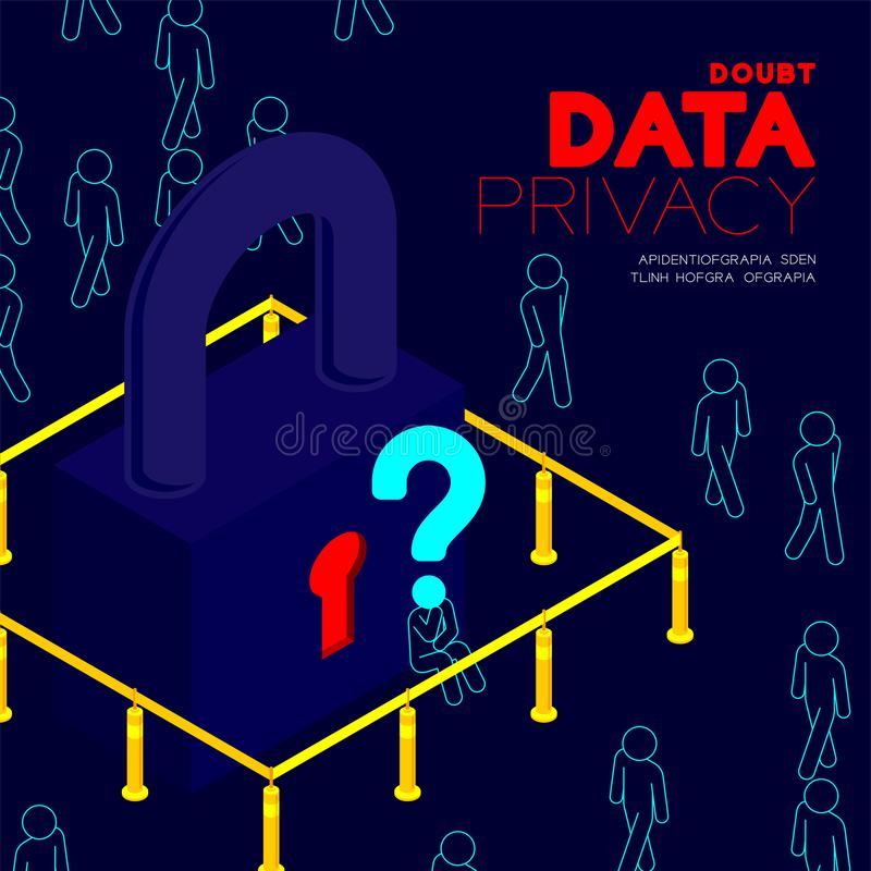 Doubt data privacy problem concept, man pictogram question mark head sitting, isometric Lock and pole traffic barrier among people royalty free illustration