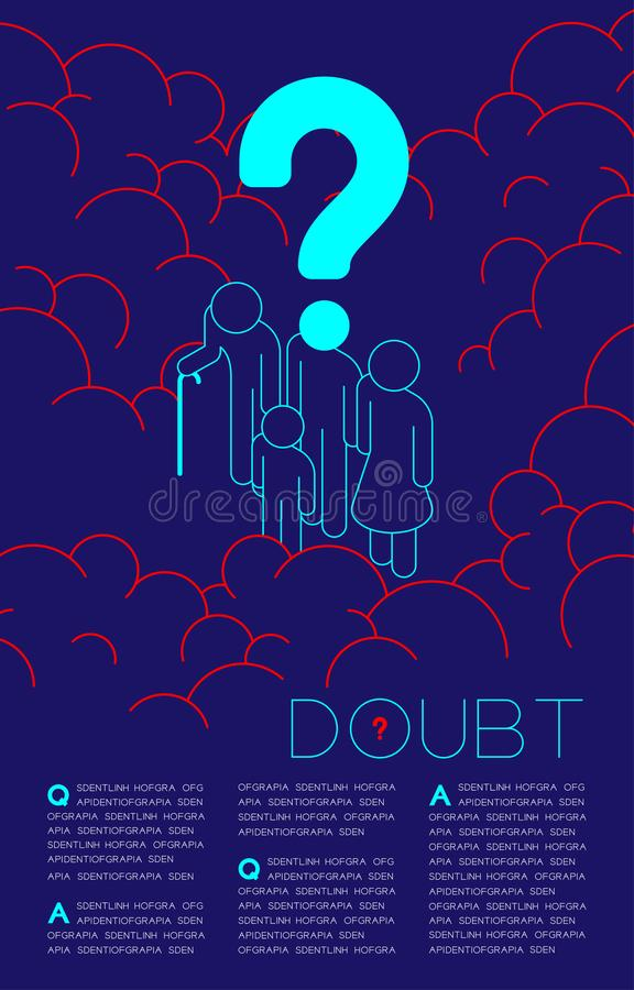 Doubt man family parent, elderly and kid isometric with Question mark icon pictogram, Social issues: Pollution PM 2.5 concept royalty free illustration