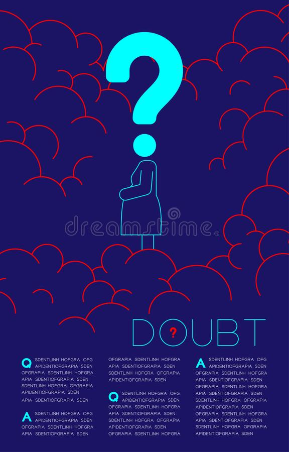 Doubt pregnant woman with Question mark icon pictogram blue and red, Social issues: Pollution PM 2.5 concept template layout vector illustration