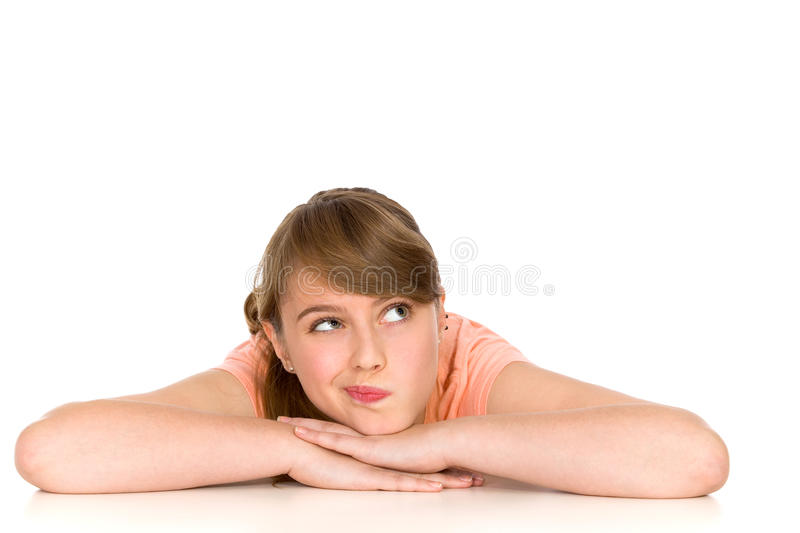 Doubtful girl royalty free stock images