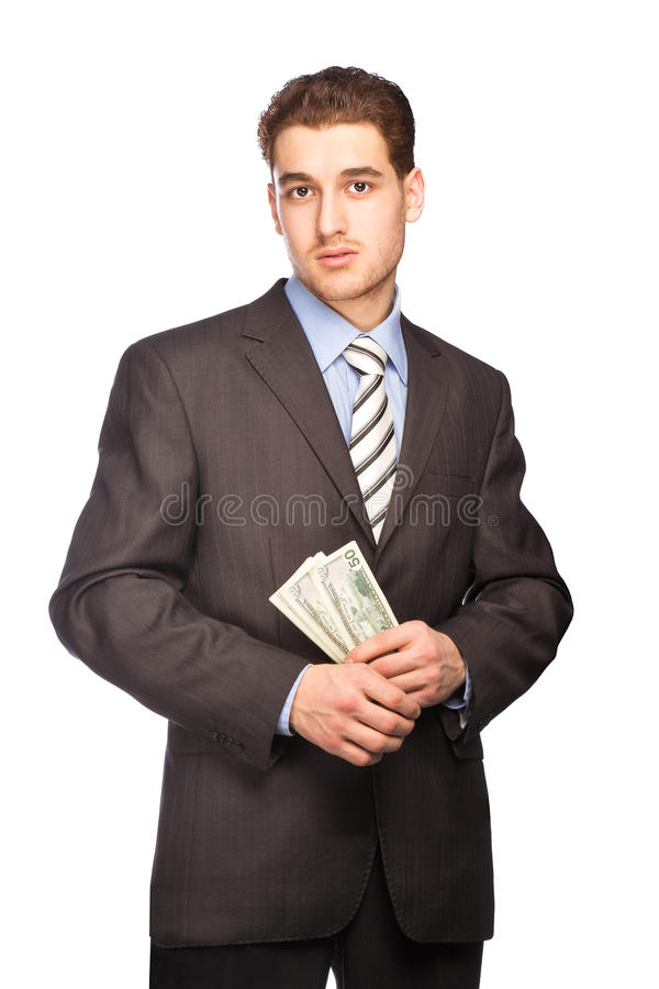 Doubting man with money royalty free stock photography
