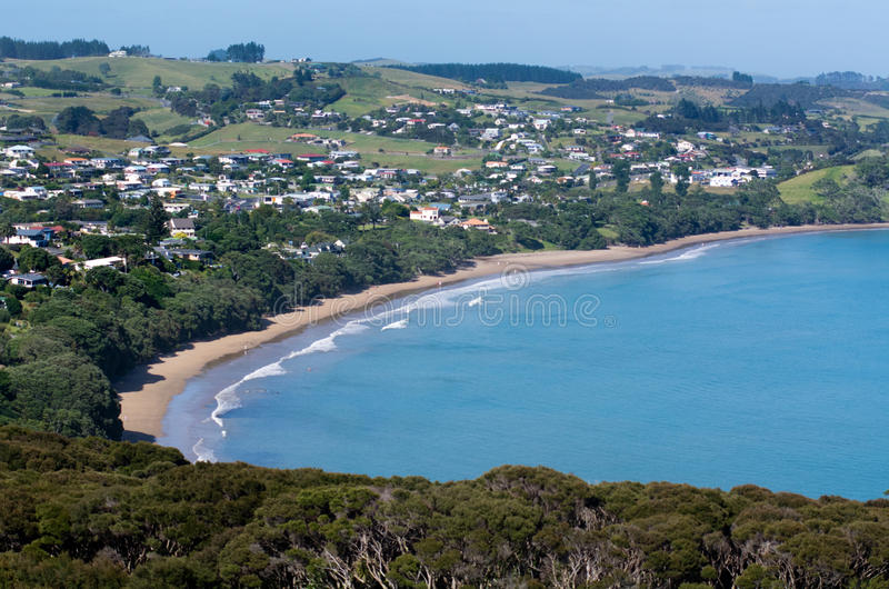 Doubtless bay Northland New Zealand. Aerial view of Coopers beach in Doubtless bay Northland , New Zealand royalty free stock images