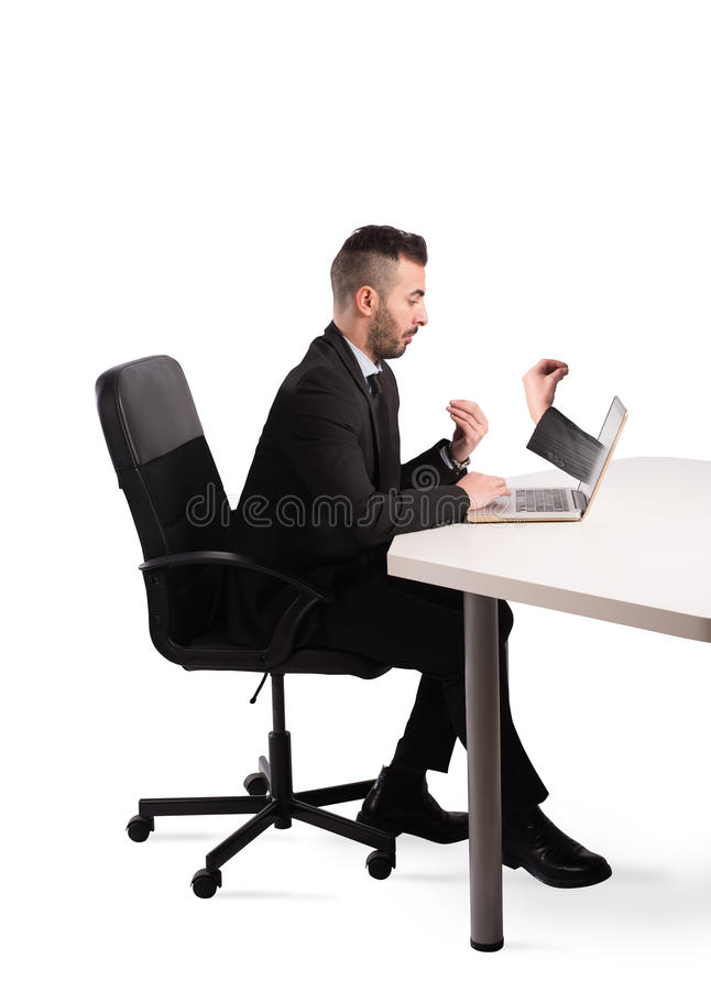 Doubts on computer use stock photo
