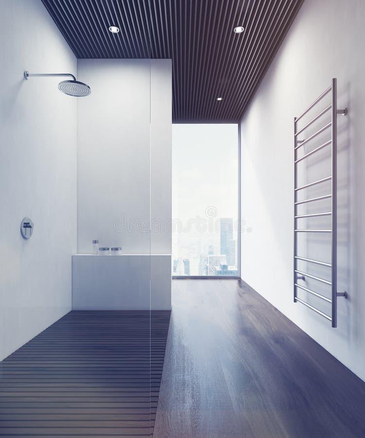 Douche avec le plancher en bois, modifié la tonalité illustration libre de droits