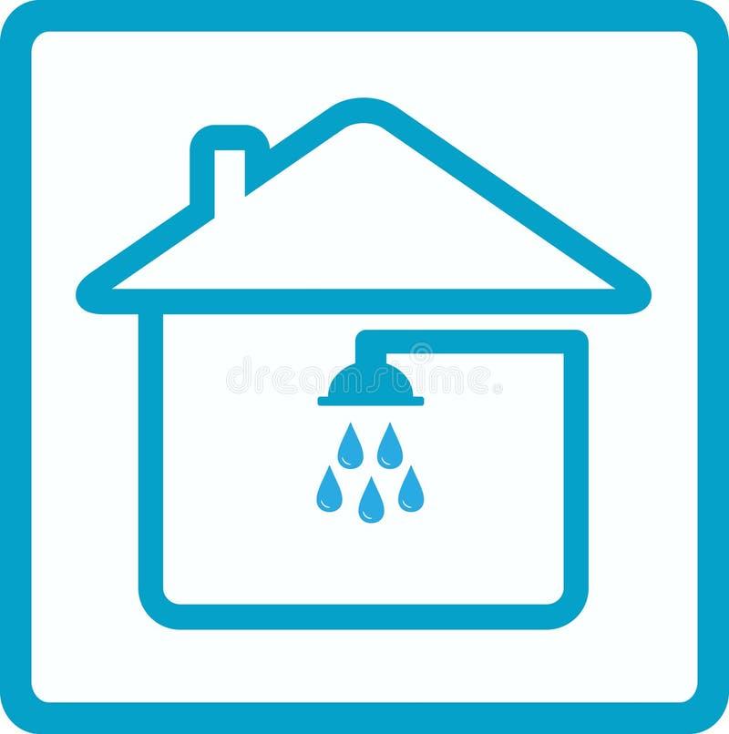 Douche dans le symbole de maison de la salle de bains illustration de vecteur