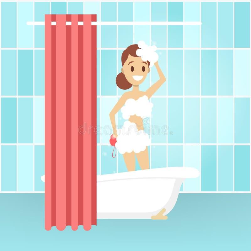 Douche de prise de jeune femme dans la salle de bains illustration libre de droits