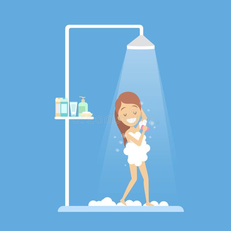 Douche de prise de jeune fille dans la salle de bains illustration stock