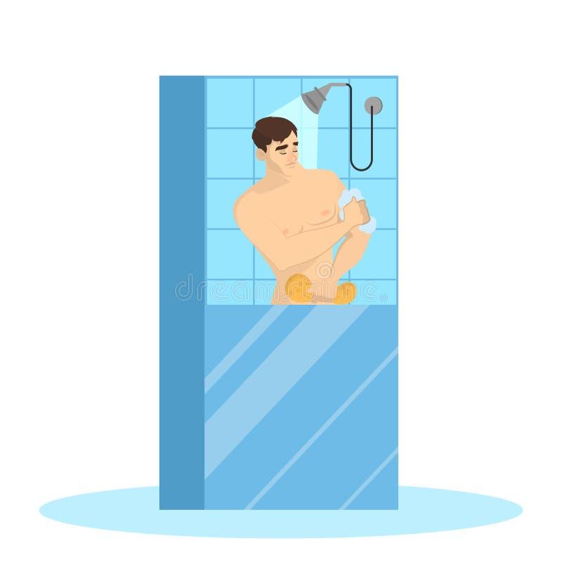 Douche de prise de jeune homme dans la salle de bains illustration libre de droits