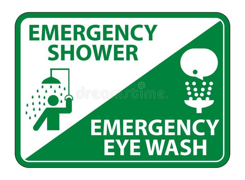 Douche de secours, isolat de signe de symbole de lavage d'oeil sur le fond blanc, illustration ENV de vecteur 10 illustration de vecteur