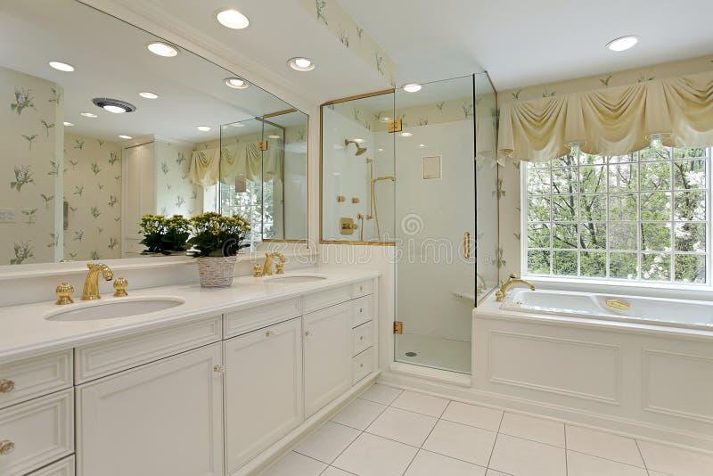douche principale en verre de bain photographie stock