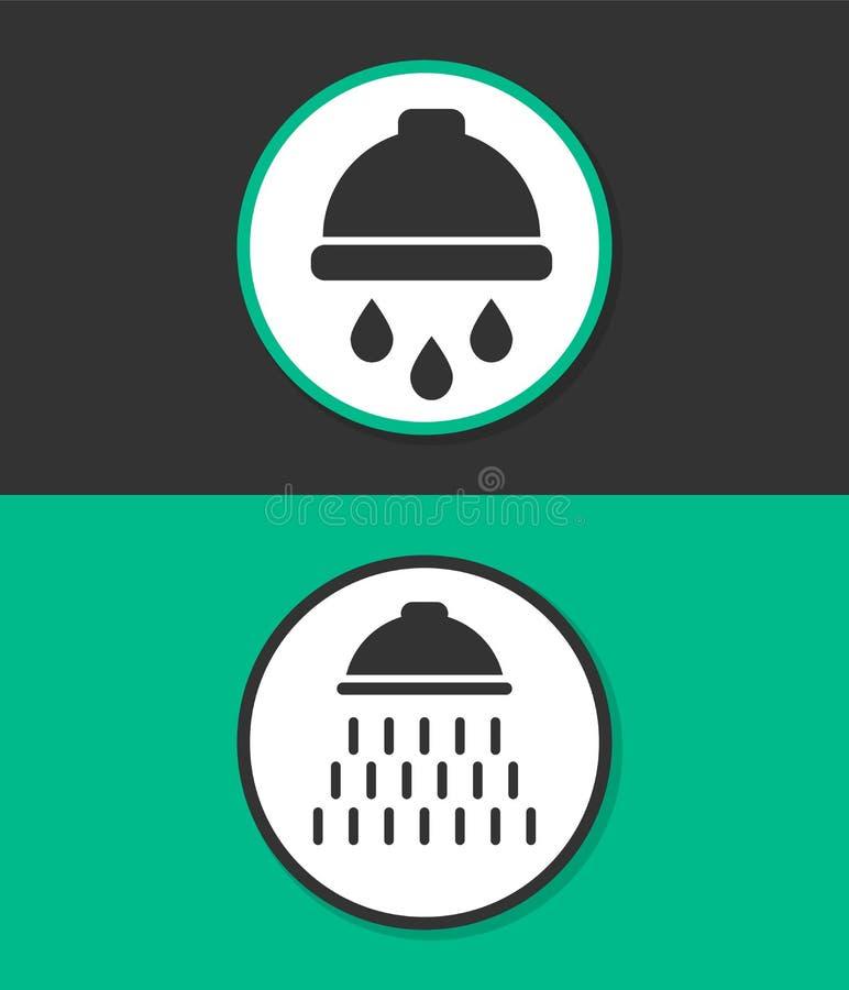 Douche vectorpictogram met het symbool van waterdalingen stock illustratie