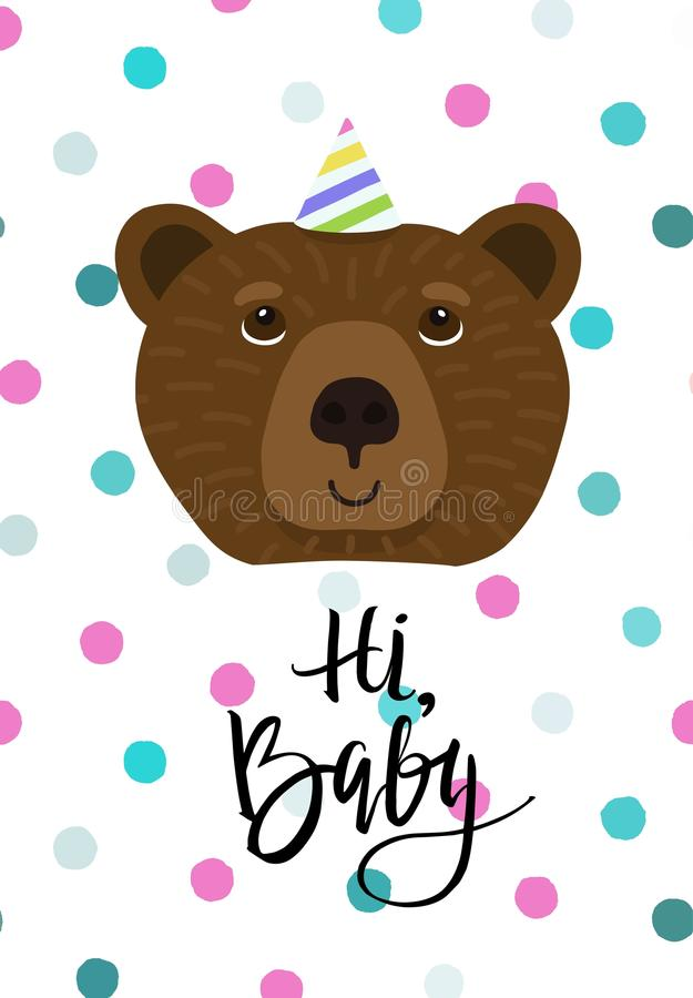 Doudle style bear face. Children`s card with handdrawn dots and text Hi, baby. Doudle style bear face. Vector illustration with handdrawn dots and text Hi, baby stock illustration